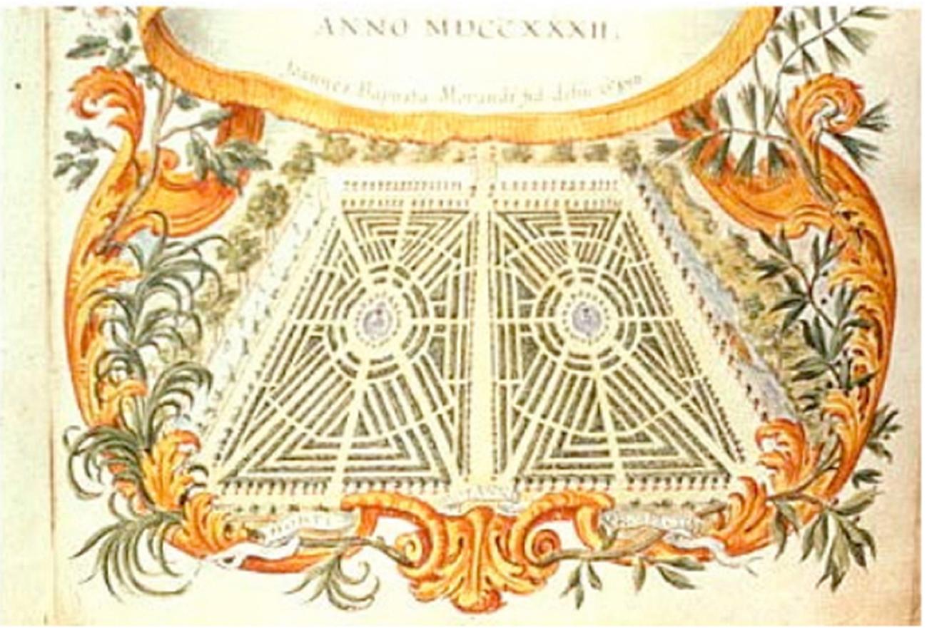 Planimetria dell'Orto Botanico del 1732 (da Caramiello, 2012)